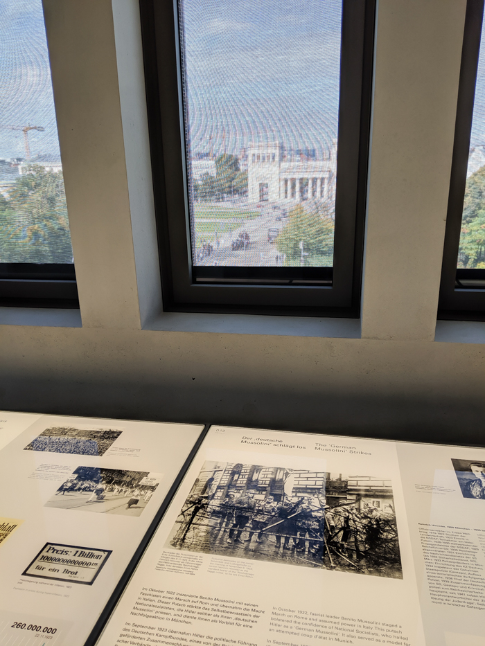 Informational displays and window view | Munich NS-documentation Center in Munich, Germany | Nazi history, Adolf Hitler headquarters
