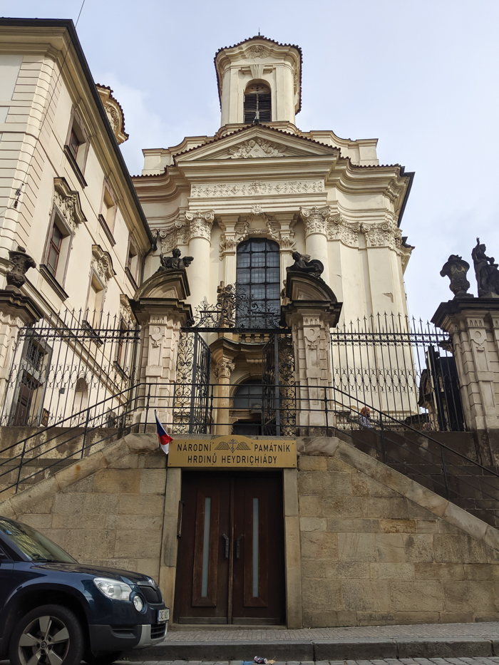 Operation Anthropoid memorial in Prague, Czech Republic (Czechia) | WWII sites in Prague | Nazi leader Reinhard Heydrich assassination | Saints Cyril and Methodius Cathedral | entrance