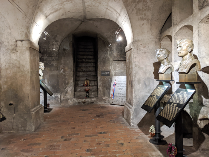 Operation Anthropoid memorial in Prague, Czech Republic (Czechia) | WWII sites in Prague | Nazi leader Reinhard Heydrich assassination | Saints Cyril and Methodius Cathedral | busts in the crypt