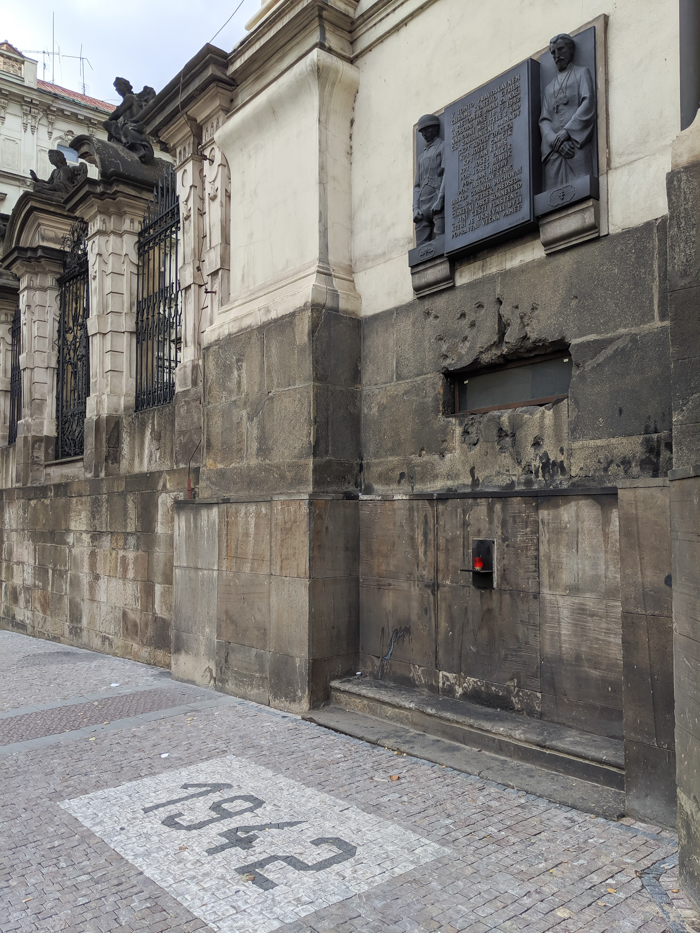 Operation Anthropoid memorial in Prague, Czech Republic (Czechia) | WWII sites in Prague | Nazi leader Reinhard Heydrich assassination | Saints Cyril and Methodius Cathedral | plaques