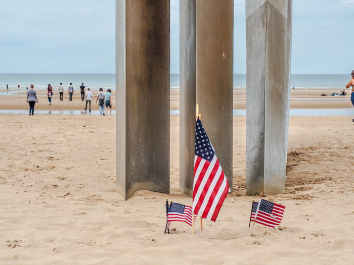 Omaha Beach memorial with American flags | 7 of the Best D-Day Sites to Visit in Normandy If You Have Just 1 Day | Normandy, France WWII sites and World War II history | #wwii #normandy #dday #omahabeach