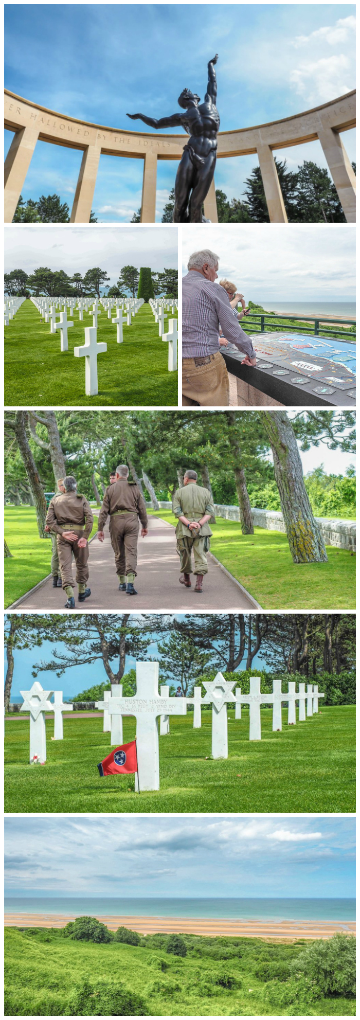 memorials, soldiers, crosses at Normandy American Cemetery overlooking Omaha Beach | 7 of the Best D-Day Sites to Visit in Normandy If You Have Just 1 Day | Normandy, France WWII sites and World War II history | #wwii #normandy #dday #omahabeach