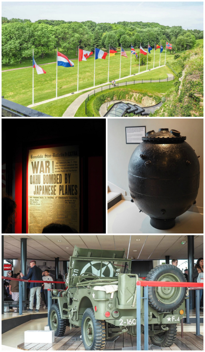 flags, bomb, newspaper, jeep on display at Caen Memorial Museum | 7 of the Best D-Day Sites to Visit in Normandy If You Have Just 1 Day | Normandy, France WWII sites and World War II history | #wwii #normandy #dday #omahabeach