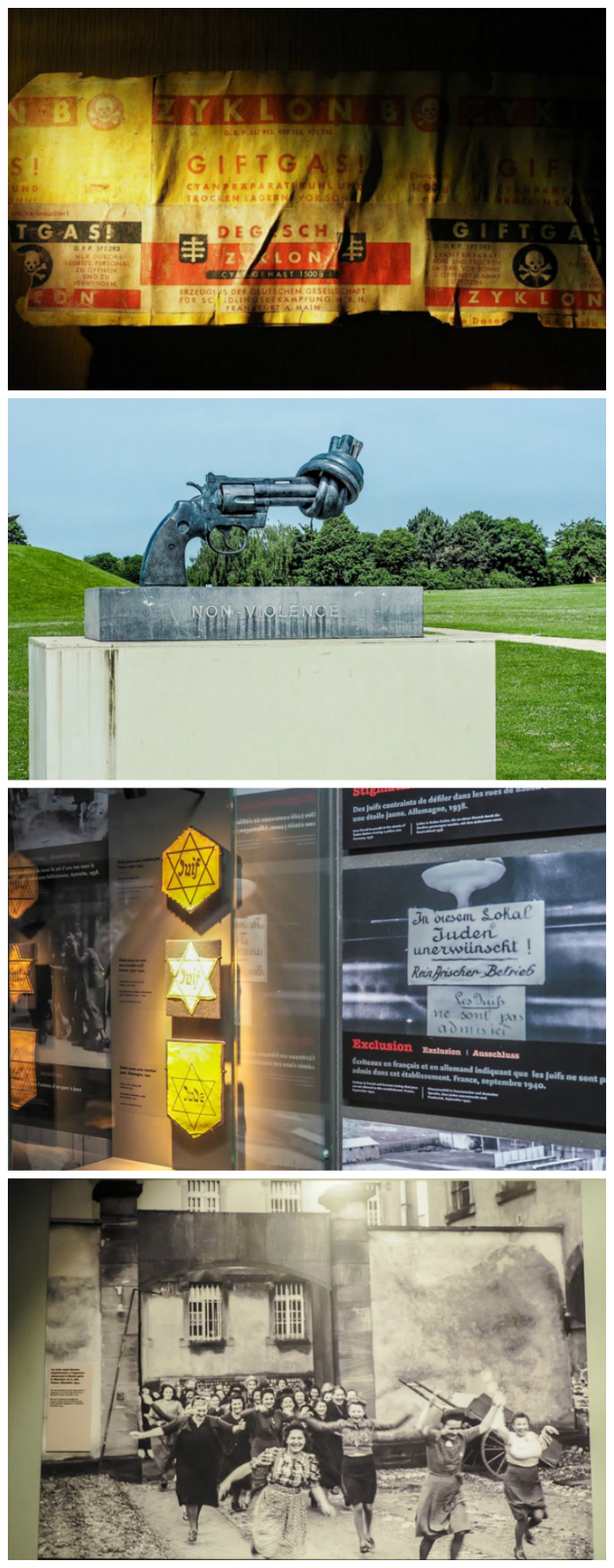 non-violence statue, xyklon b, liberation photo on display at Caen Memorial Museum | 7 of the Best D-Day Sites to Visit in Normandy If You Have Just 1 Day | Normandy, France WWII sites and World War II history | #wwii #normandy #dday #omahabeach