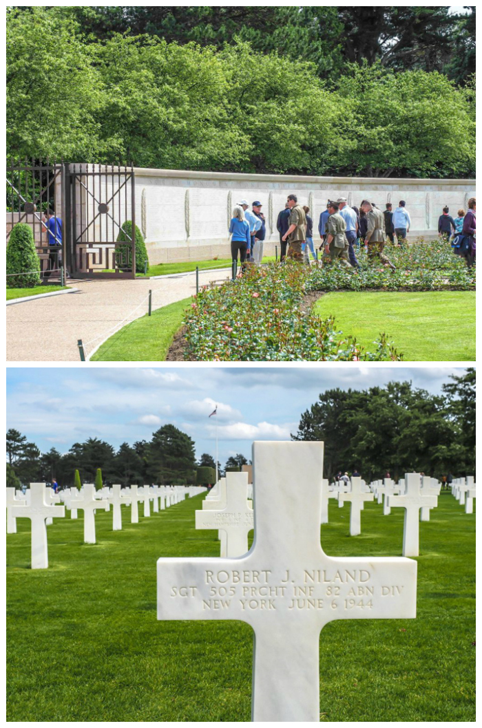 soldiers and niland brothers grave markers at Normandy American Cemetery overlooking Omaha Beach | 7 of the Best D-Day Sites to Visit in Normandy If You Have Just 1 Day | Normandy, France WWII sites and World War II history | #wwii #normandy #dday #omahabeach
