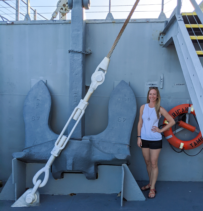 Me with the ship's anchor | 9 Tips for Visiting the SS American Victory Ship and Museum in Tampa, Florida #tampa #florida #worldwarii #wwii #anchor #battleship