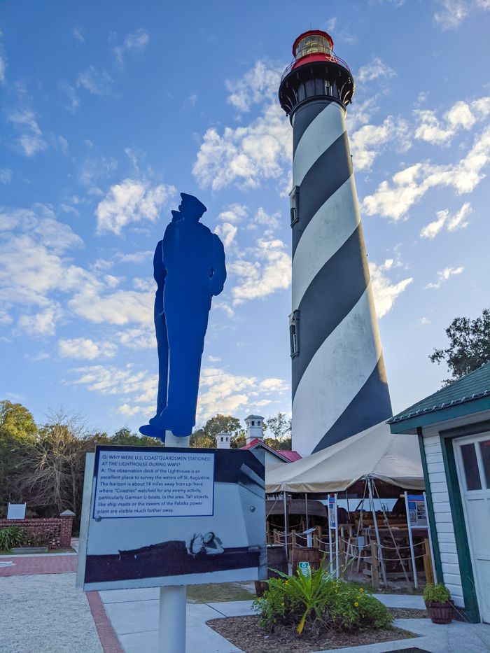 St. Augustine Lighthouse and Maritime Museum, Coast Guard information   WWII Sites in St. Augustine, Florida - America's Oldest City   #staugustine #ancientcity #florida #wwiitravel #destinationwwii #worldwarii #lighthouse