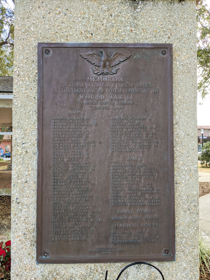World War II Memorial Plaque | WWII Sites in St. Augustine, Florida - America's Oldest City | #staugustine #ancientcity #florida #wwiitravel #destinationwwii #worldwarii