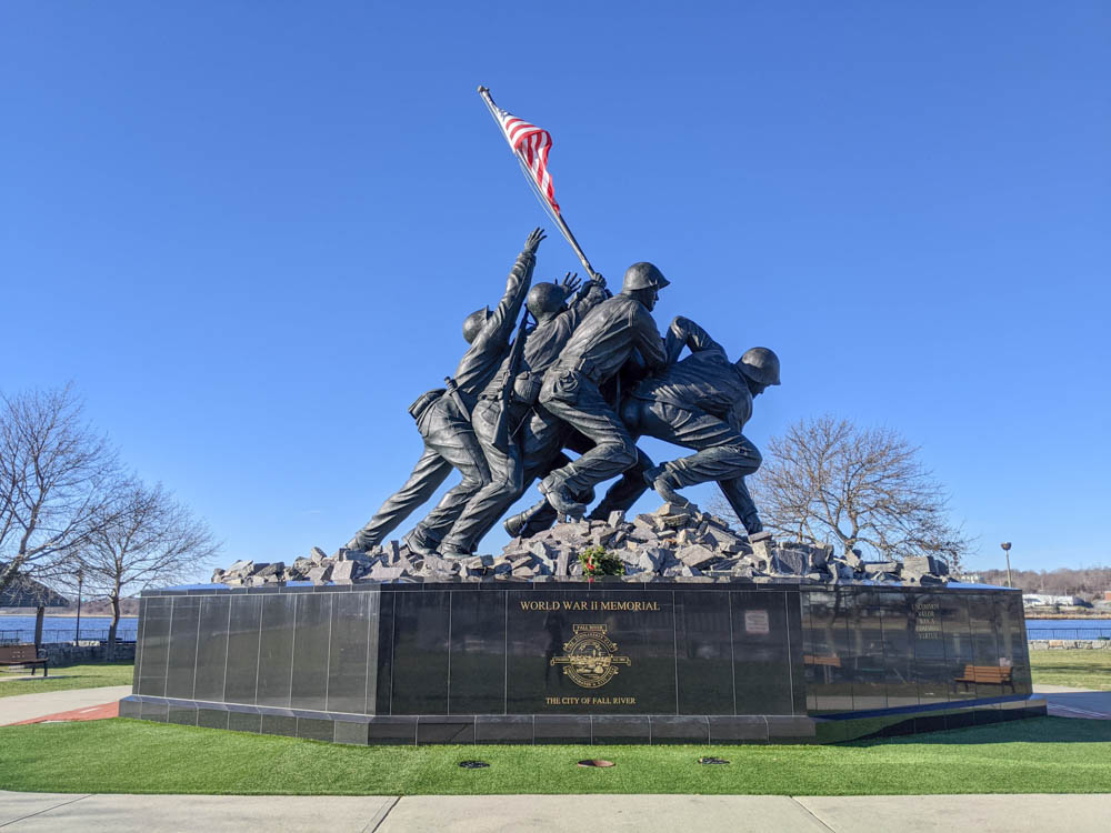 WWII sites in Massachusetts, Fall River Iwo Jima monument in Bicentennial Park