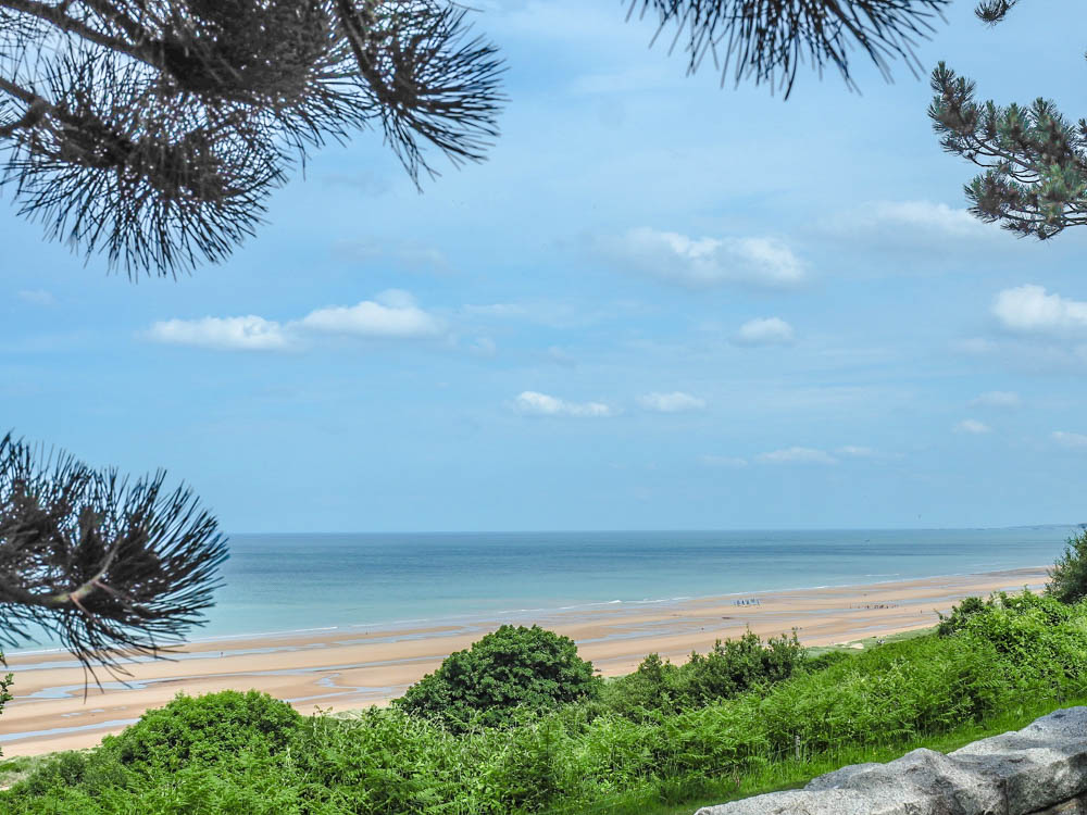 What to see at Omaha Beach, Normandy, France: view of the beach from Normandy American Cemtery