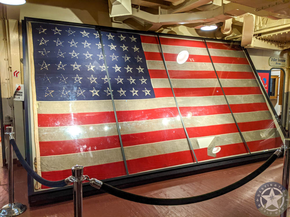 Restored flag on the USS Massachusetts | 7 Reasons U.S. Battleship Museums are the Best Museums | USS Massachusetts, Battleship Cove, Fall River, Massachusetts