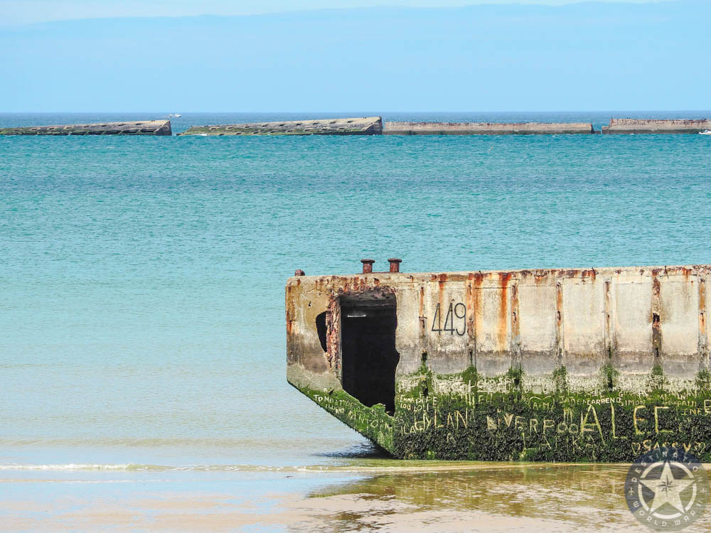 artifical harbors in the ocean off arromanches-les-bains, normandy
