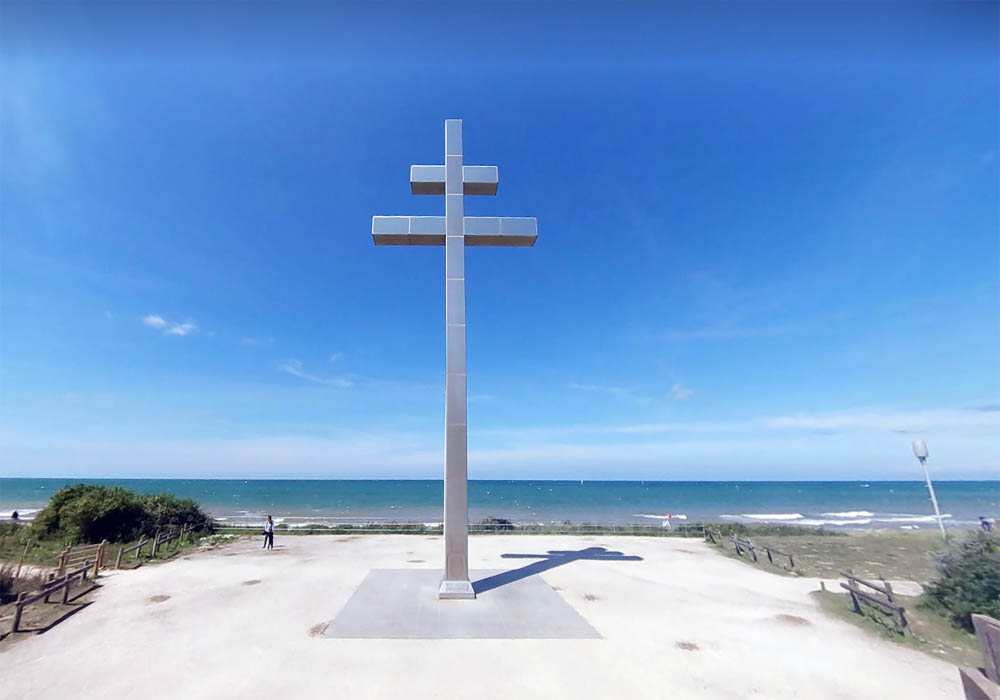 Cross of Lorraine Charles de Gaulle monument   Visiting Juno Beach Normandy, Museums and Memorials to Visit to explore Canada's D-Day history